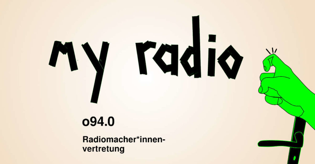 Hand klopf an die Tür auf der steht: my radio - o94.0 Radiomacher*innenvertretung