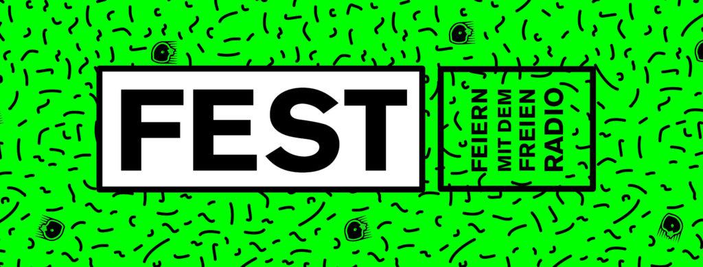 Schwarzes Muster auf Neongrün und der Text: Fest, Feiern mit dem freien Radio