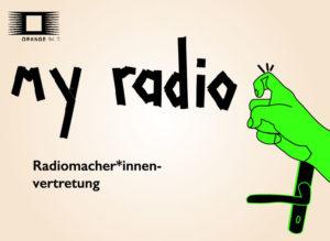 Das Logo der Radiomacher*innen Vertretung: Eine Hand klopft an die Tür, darauf steht 'my radio'.