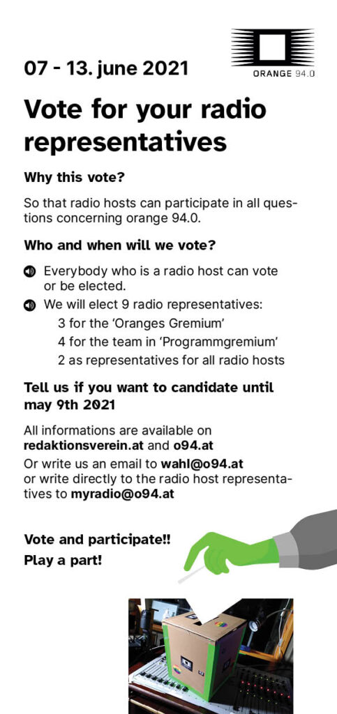 Der Wahlaufruf als Flyer in englisch