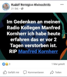 Manfred Kornherr ist verstorben